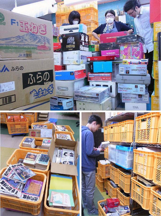 上:大量の持ち込みを前に、やる気にみちたカオ。 左下:古書の買取もしています。 右下:お持ち込みいただいたお品物を、一品ずつ丁寧に査定します。